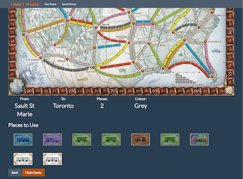 A screenshot of my Rails Ticket to Ride game's claim a route page.