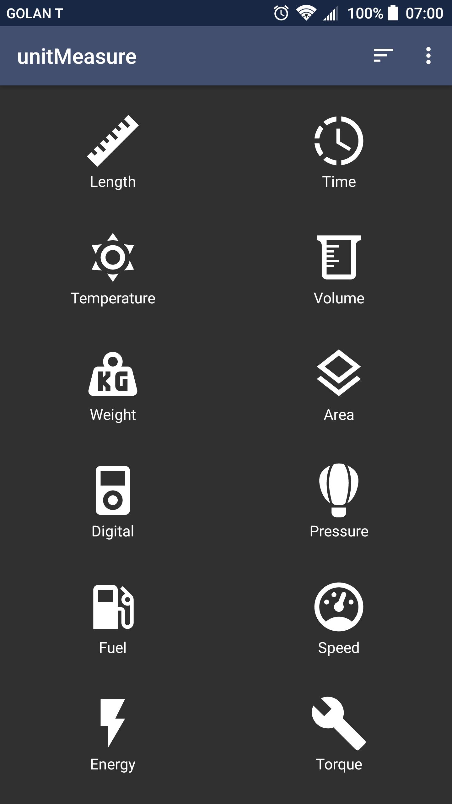 Screenshot of Main Menu in unitMeasure: Offline Converter App