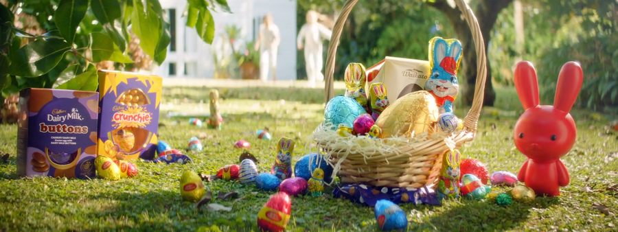 Easter ad still of chocolates and basket