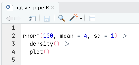 Screenshot of an RStudio code editor showing triangle-shaped ligatures for the native pipe operator