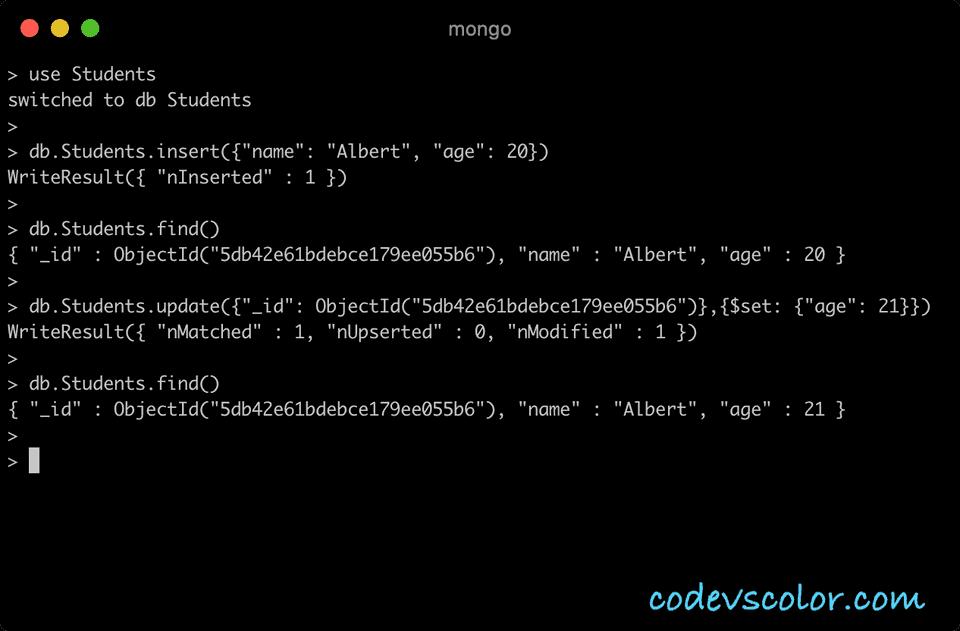 MongoDB update one document