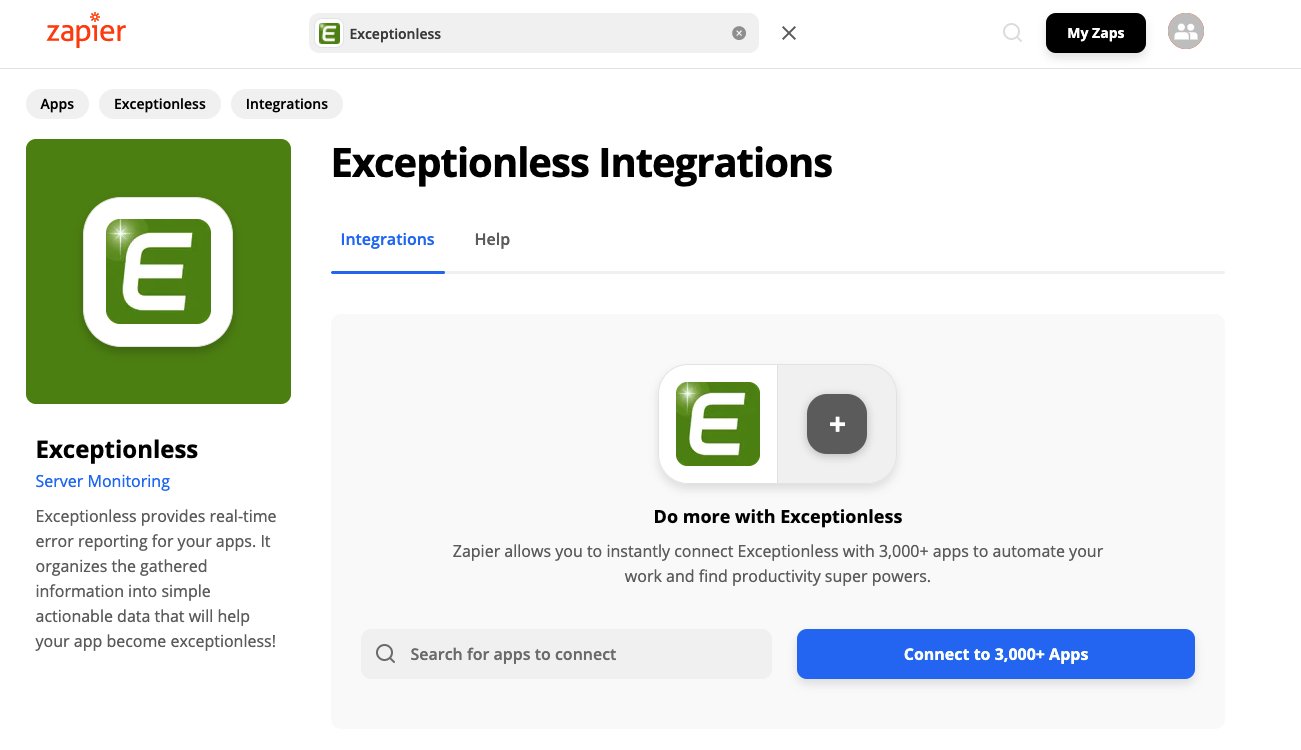 Zapier page for Exceptionless