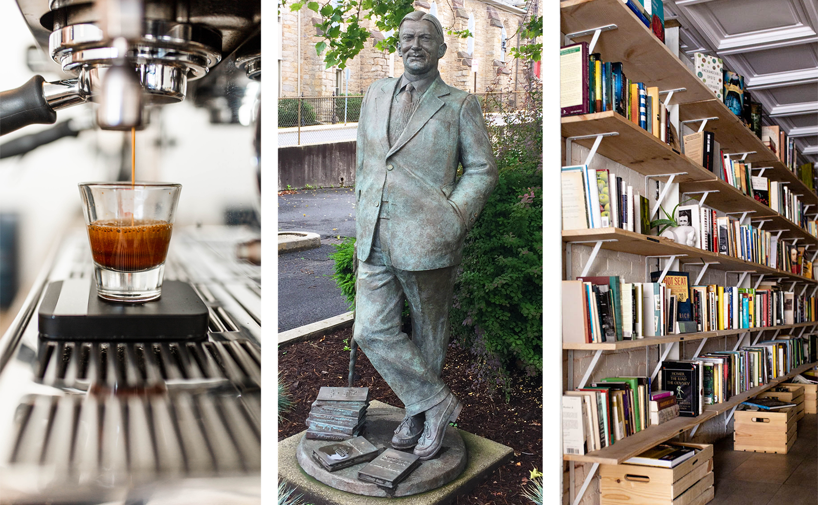 collage of a cup of espresso, a statue of john o'hara, and a shelf of books