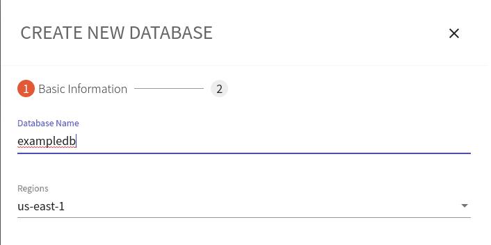 Create New Database pane