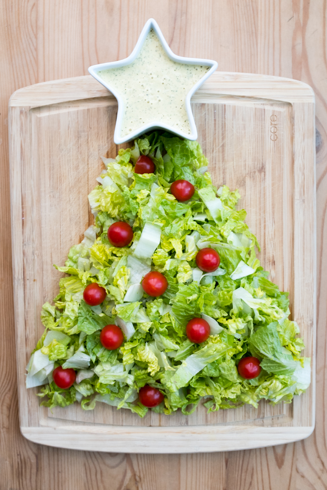 Vegan Christmas Tree salad with vegan ranch dressing