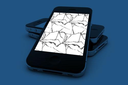 Knust mobil skjerm