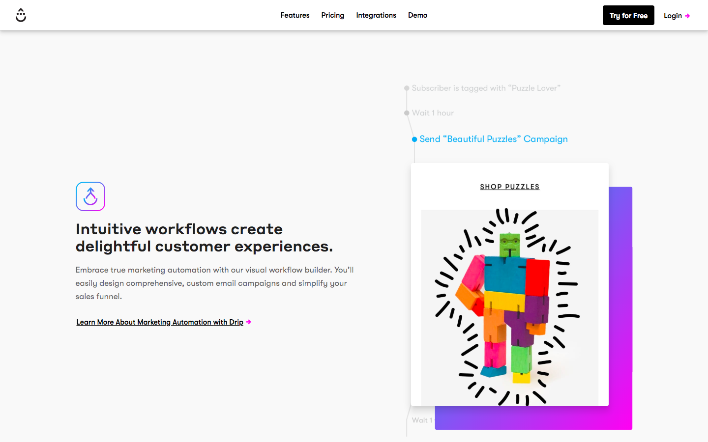 Workflow section of Drip's homepage