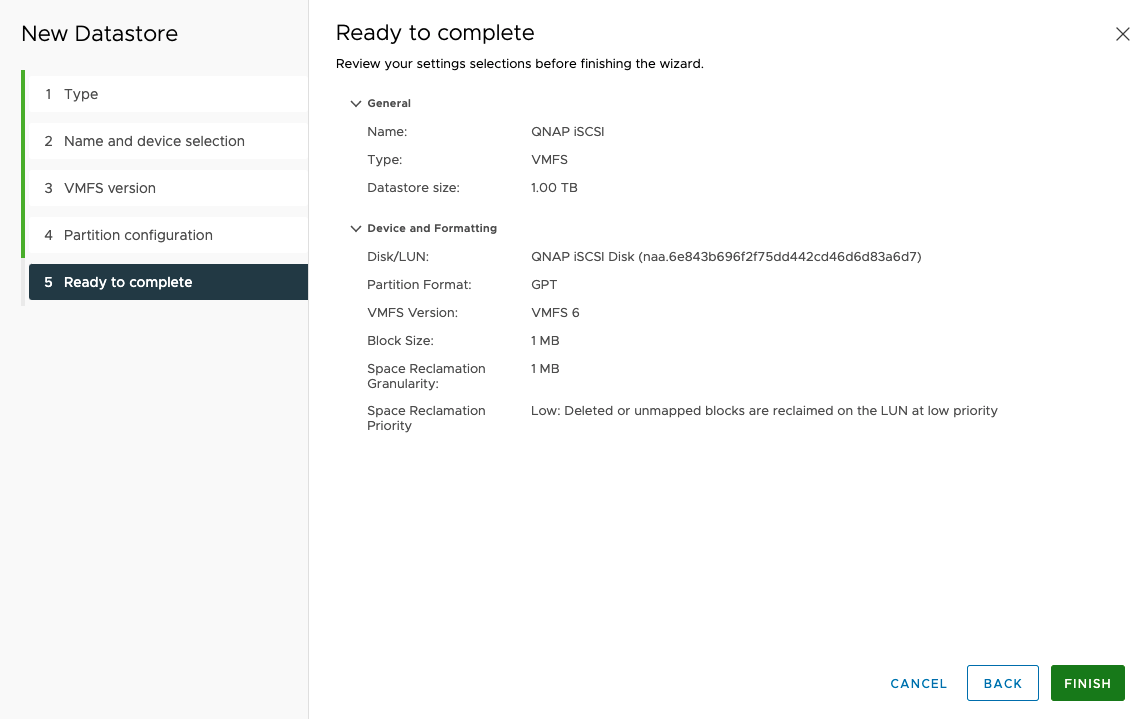 Configure Qnap iSCSI as VMware Datastore - 18