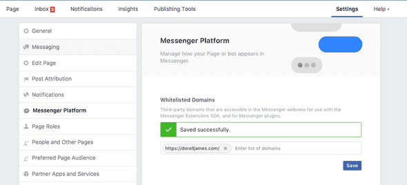 messenger whitelist domain