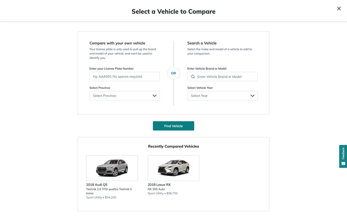 Add Vehicle to Comparison Page