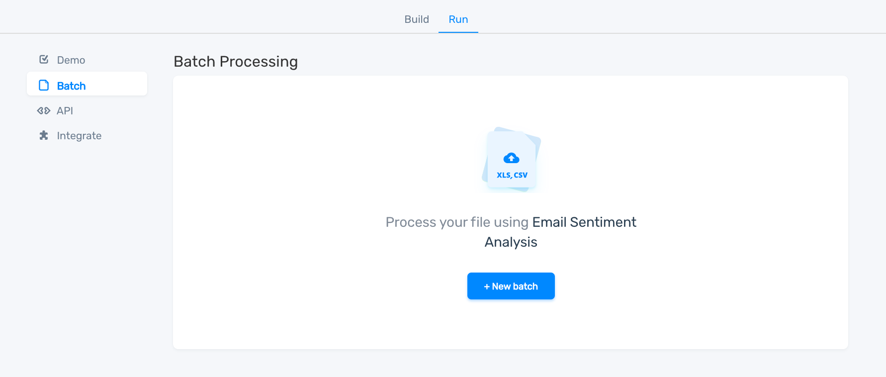 How to upload a file for batch processing