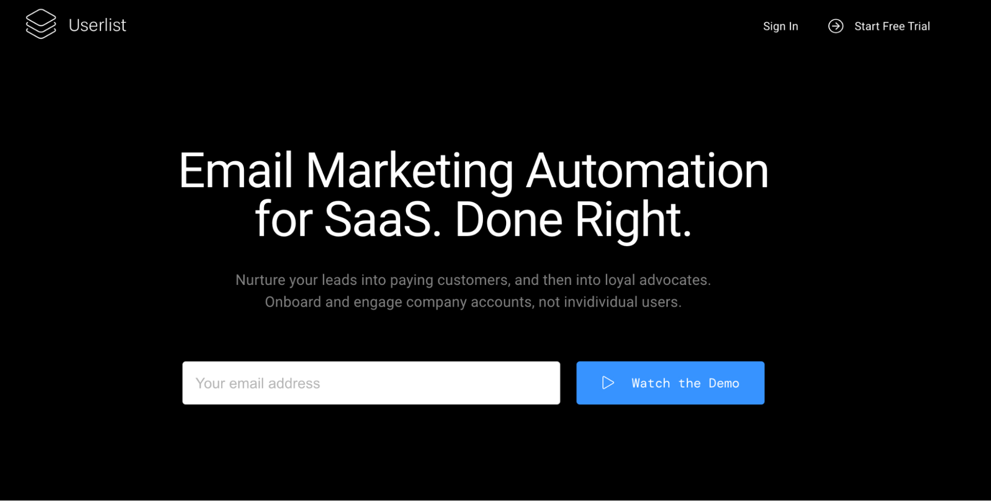 SaaS Marketing Automation Tools: Userlist Screenshot