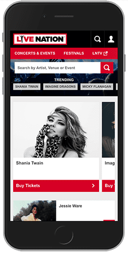 Image of the Live Nation Website embedded on a mobile phone