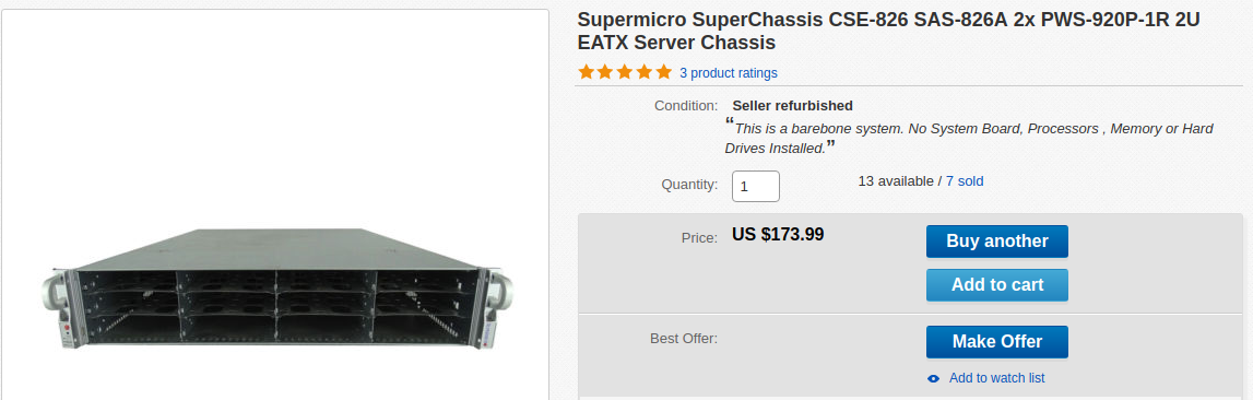 Screenshot of Ebay, showing a listing for a barebone Supermicro 826 chassis.