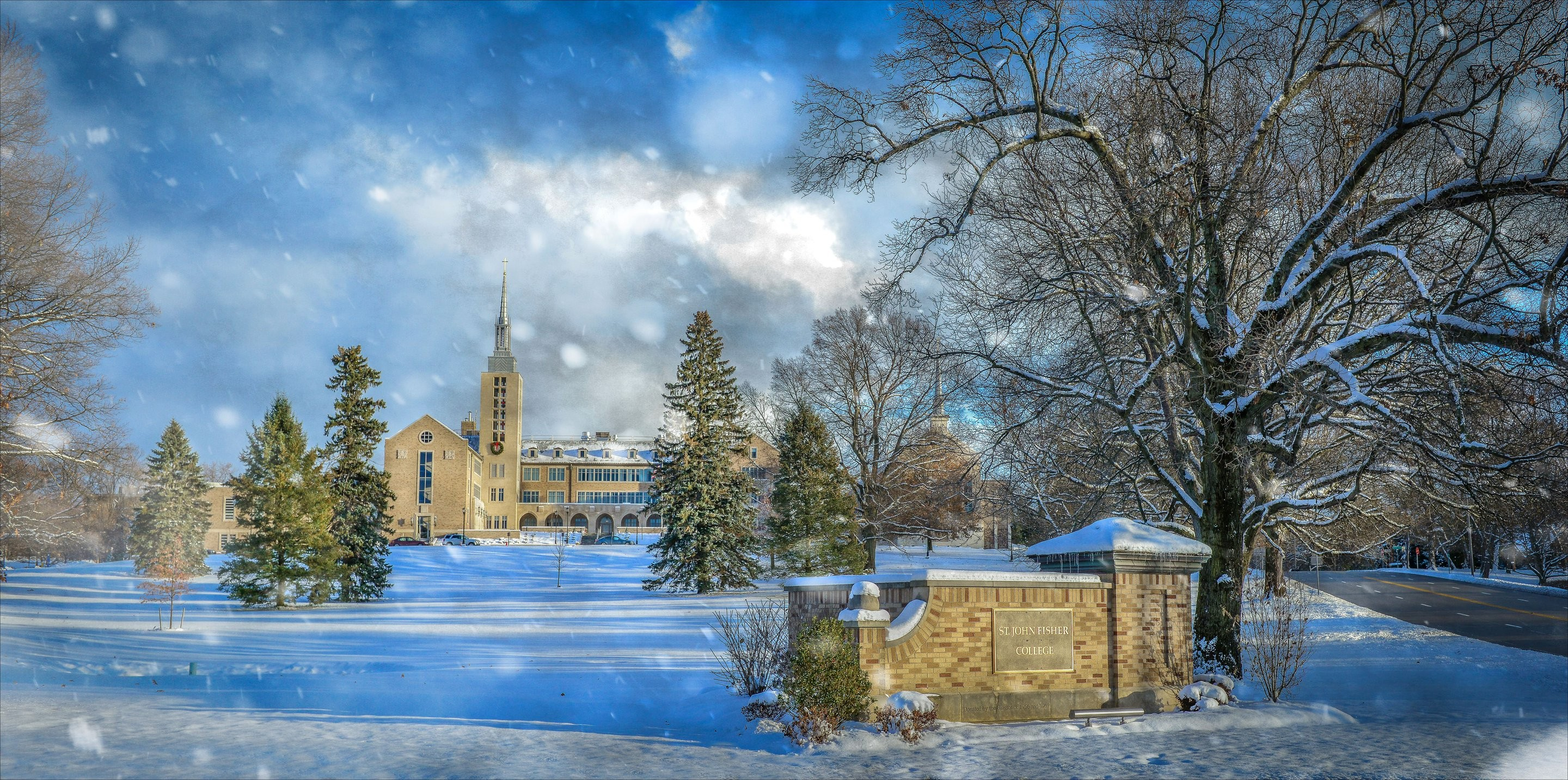 St. John Fisher campus in the snow