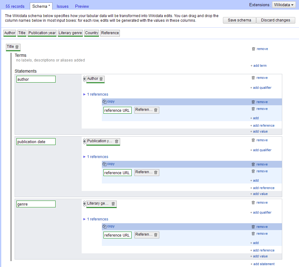 A screenshot of the schema construction window in OpenRefine.