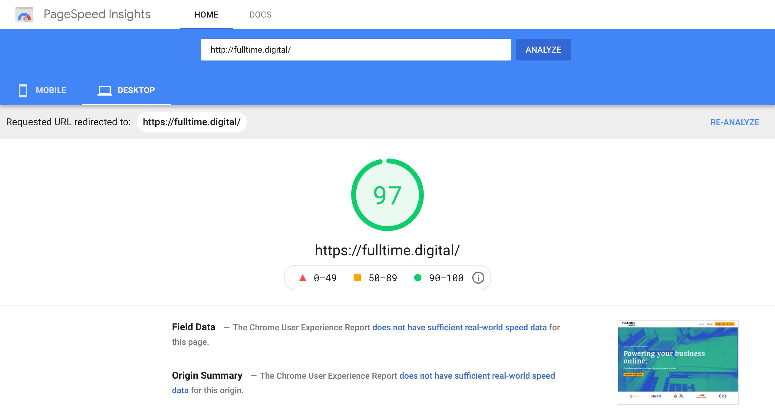 fulltime digital website speed test 97 out of 100