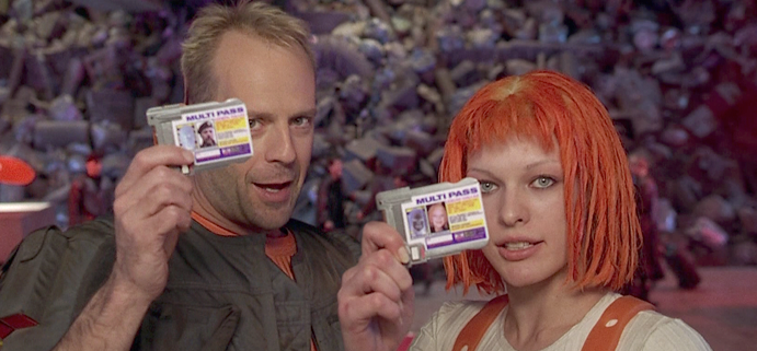 The two main characters from The Fifth Element, showing their ID's