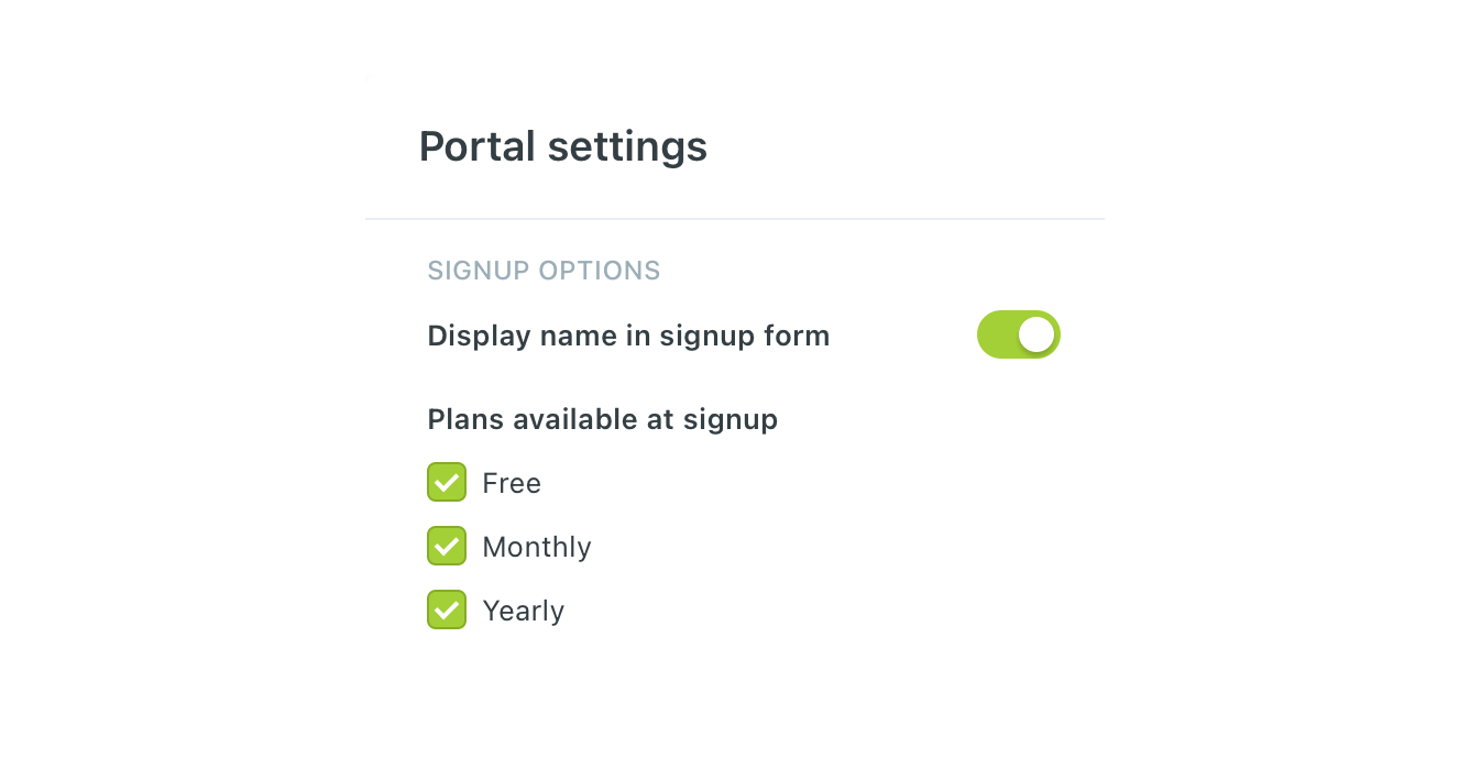 Ghost CMS Portal Settings