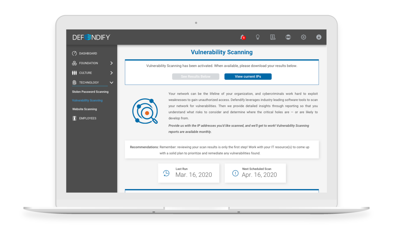 Defendify Network Vulnerability Scanner