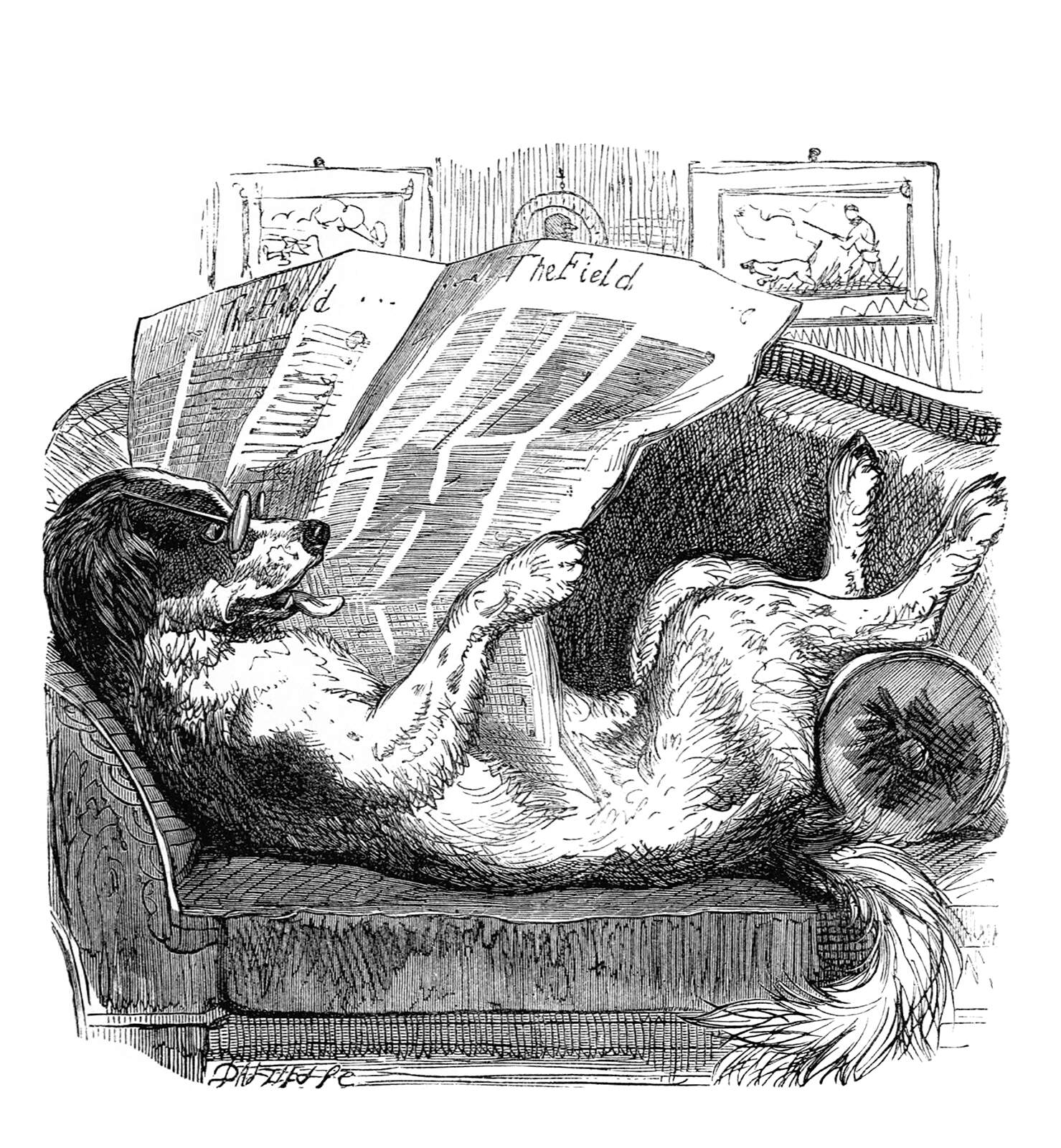 A dog reads the newspaper