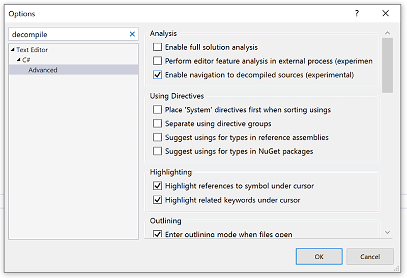 VS 2019 Options Advanced Window