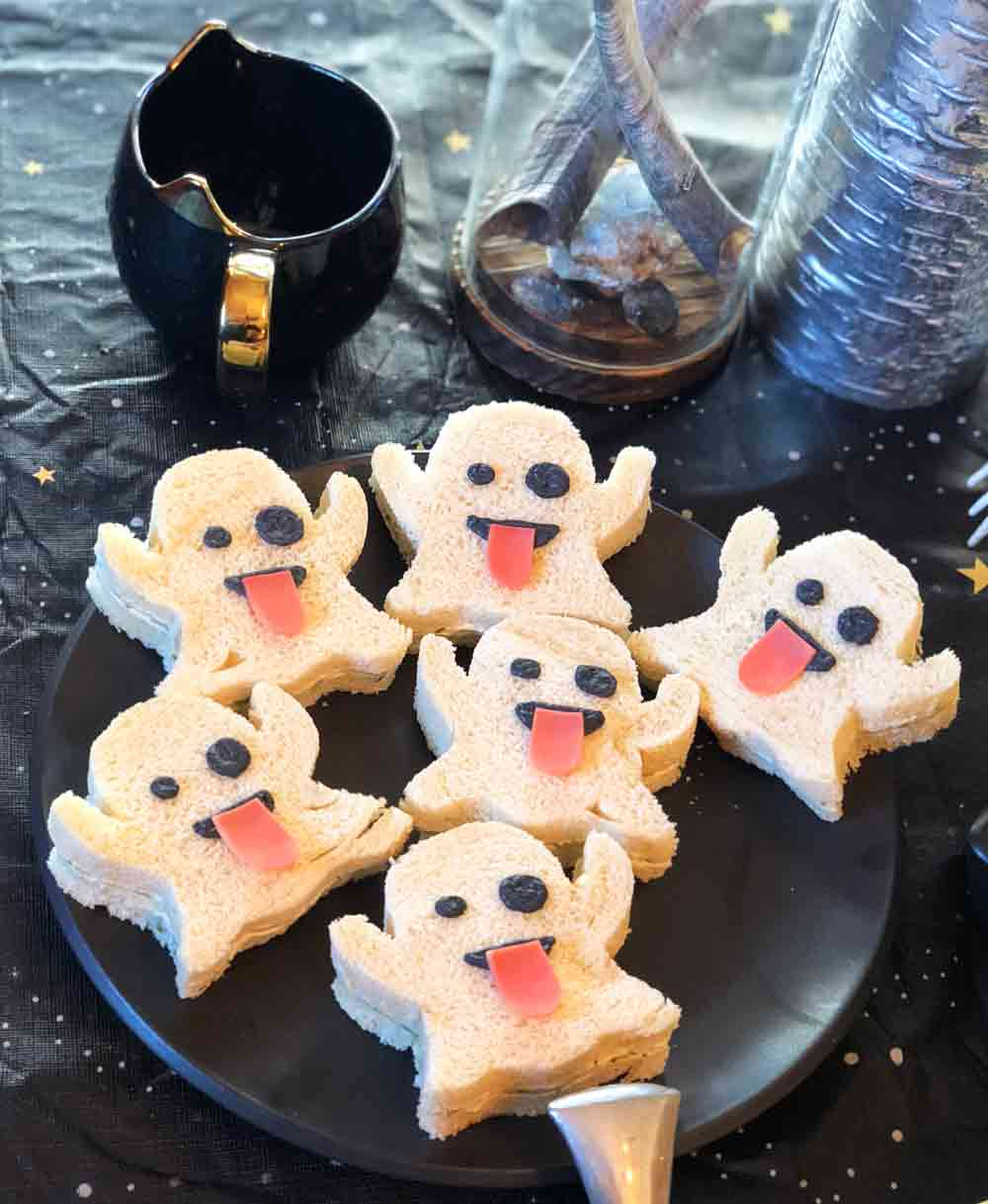 vegan ghost emoji tea sandwiches