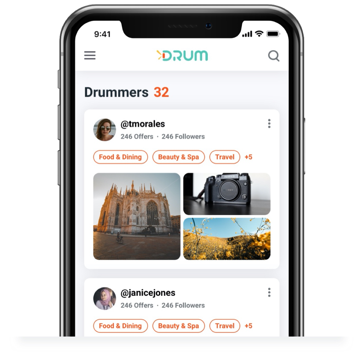 Screenshot of Drum mobile app screen designed and developed by AgilityIO