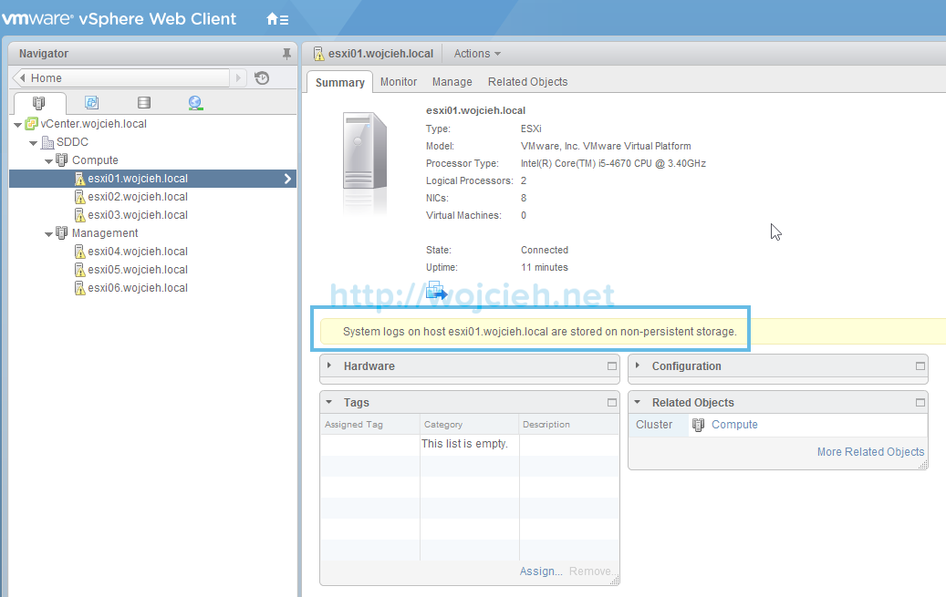 Change location of VMware ESXi System Logs to local or remote datastore - 1
