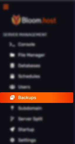 The Backups tab