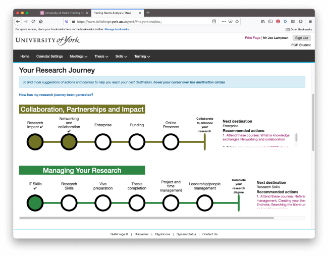 The final feature working in a browser. This screenshot shows the University of York's SkillsForge system, with their logo at the top of the page, navigation underneath and then the page content underneath. The page is titled 'Your Research Journey' and has an information banner underneath explaining that further information for each action can be found by navigtating to the stop. Below that message are two tube maps. The first is titled 'Collaboration, Partnerships and Impact' and features 5 stops. 2 of the stops are completed, featuring a checkmark. The next stop is 'Enterprise' and contains recommended actions at the end of the tube map. The tube map below is 'Managing Your Research' and only contains a single stop completed, there are 5 more stops that have not been completed.