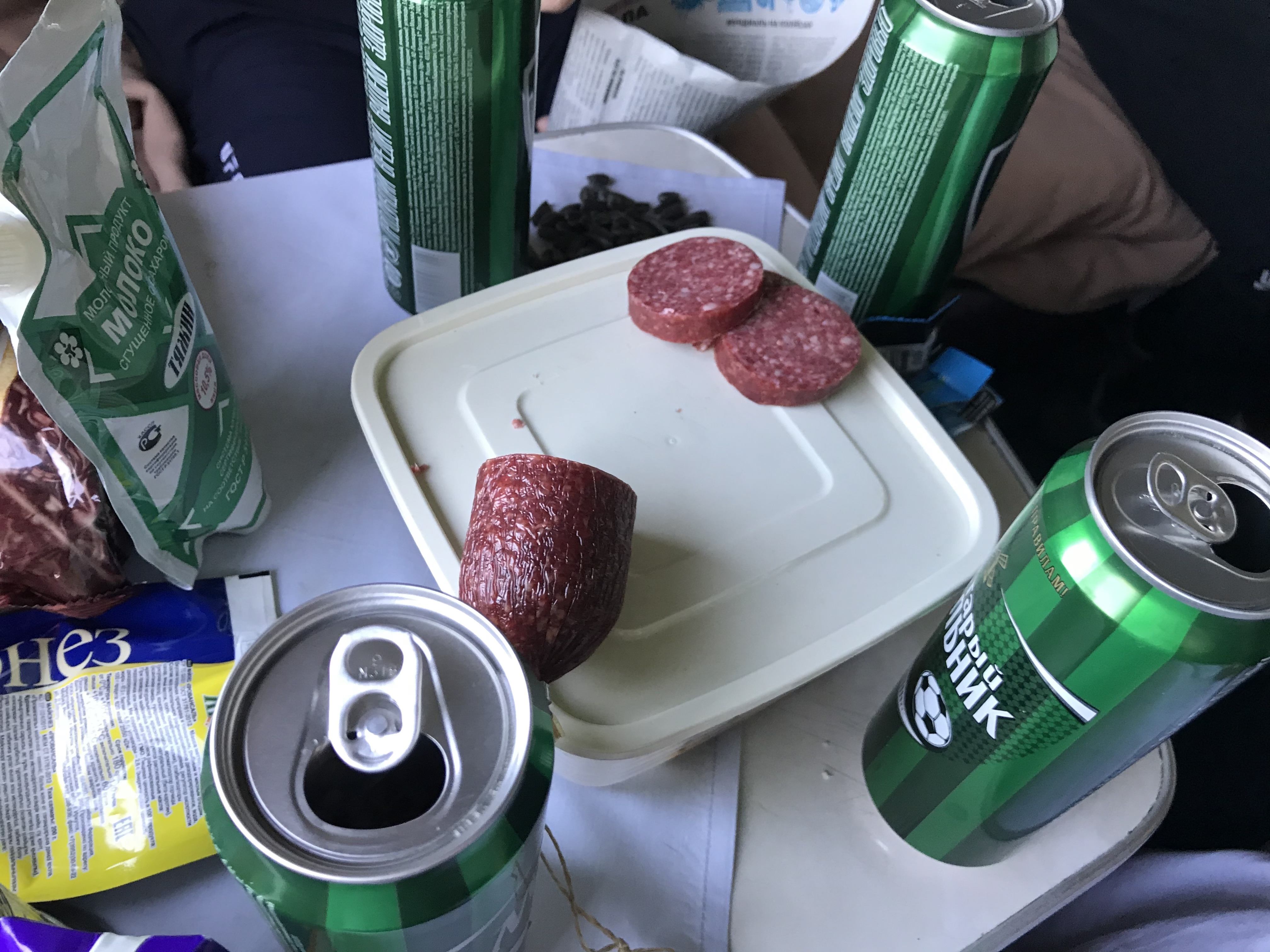 Celebrating Independence Day with beer abord the Trans-Siberian Railway.