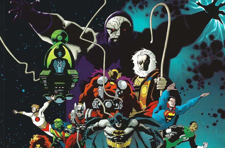 Darkseid, Superman, Lanterna Verde, Batman e outros em imagem promocional de Odisseia Cósmica da DC Comics