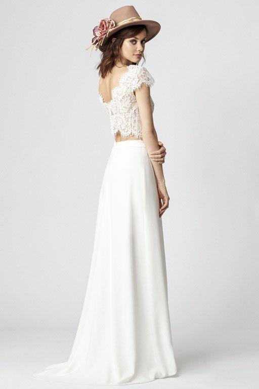Robe de mariée avec crop-top en dentelle