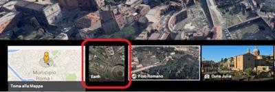 Carosello delle immagini di Google Maps con il dettaglo della Miniatura Earth