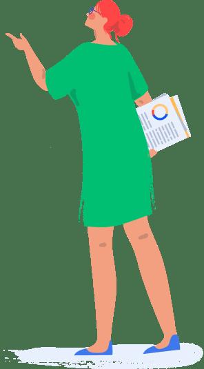 Illustrated user looking up at screenshot