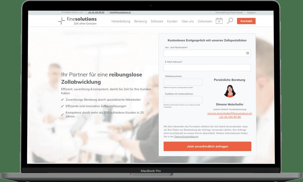 Eine Webseite, die Ergebnisse liefert