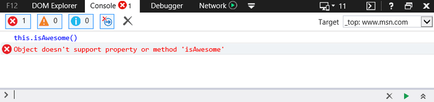 Screenshot of TypeError: Object doesn't support property