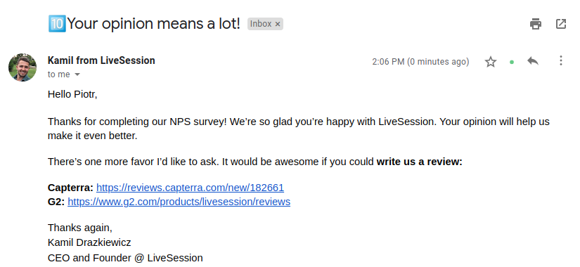 LiveSession Email - opinion