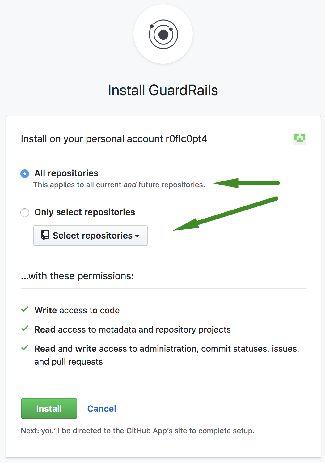 Choose the repositories that you want to verify