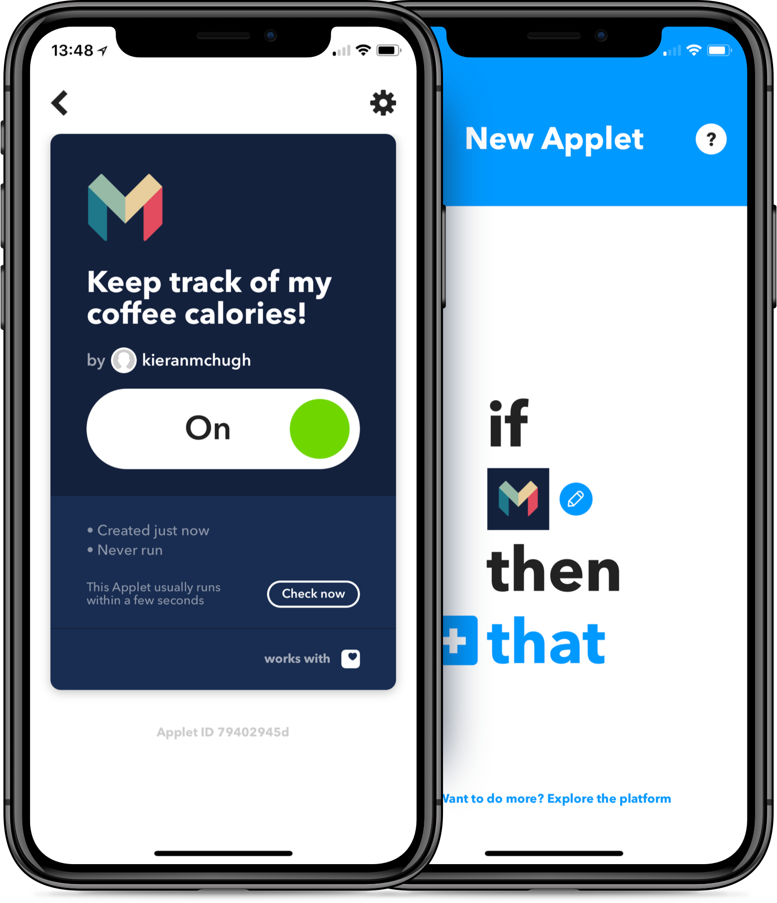Monzo and IFTTT on the iPhone
