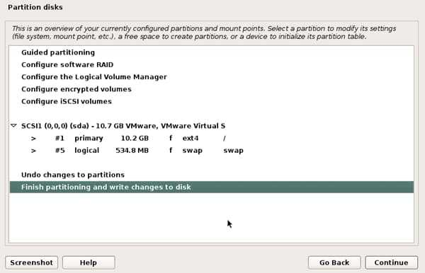 finish disk partition