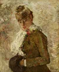 'Winter aka Woman with a Muff' painted by Berthe Morisot in 1880, Dallas Museum of Arts