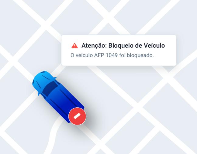 Painel da Cobli alertando o usuário que o veículo foi bloqueado