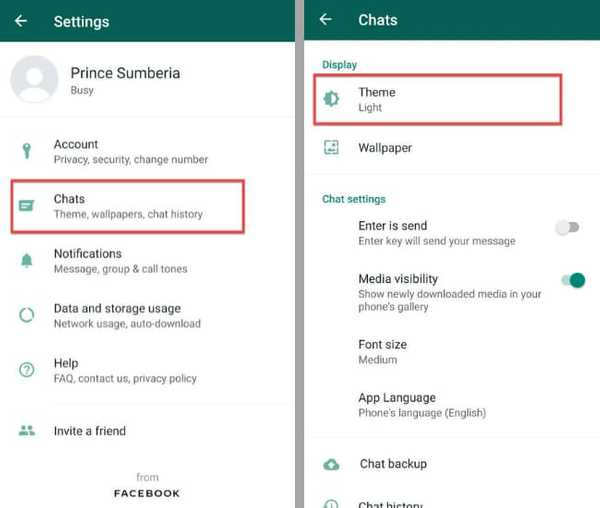 change whatsapp theme