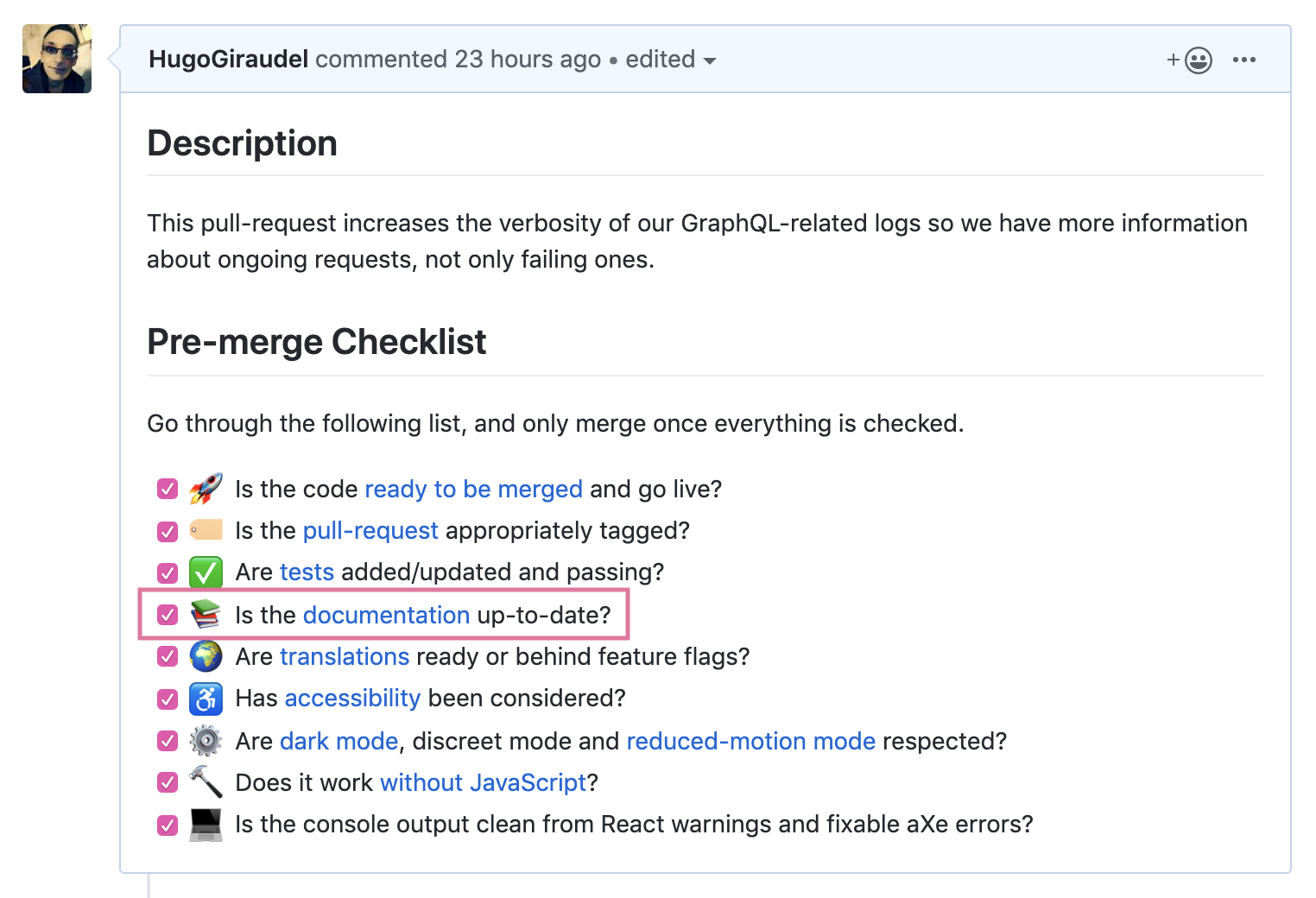 Documentation being mentioned in the pull-request template