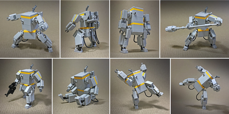 Several poses of BoxBot the Lego built robot