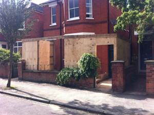 Building after site hoarding erected
