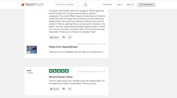 speedypaper.com reviews of satisfied customers at sitejabber