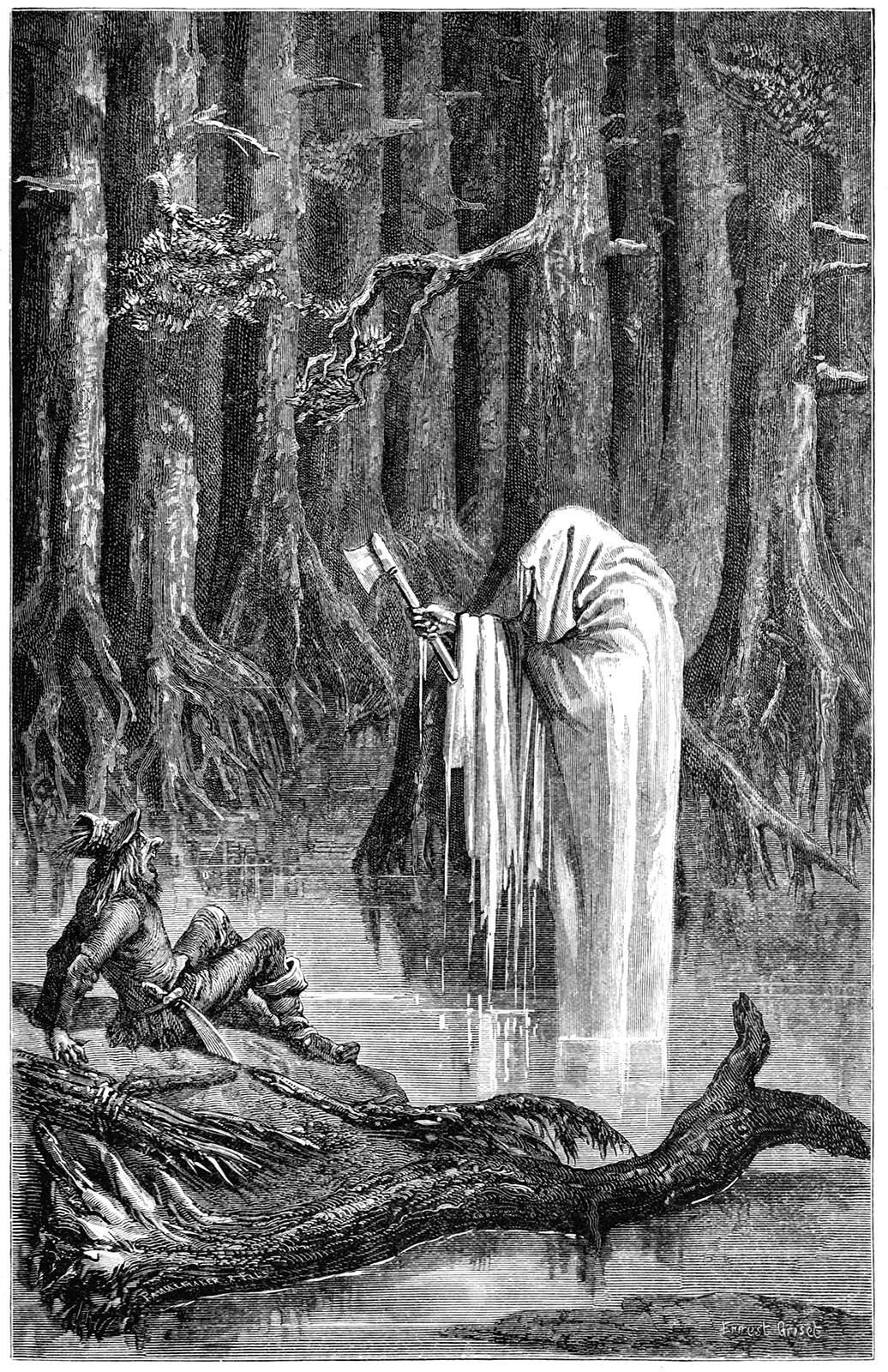 A ghostly figure haunts a woodsman